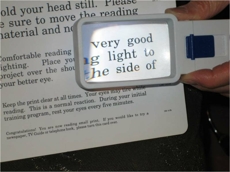 Hand-held illuminated magnifier for reading from Dr. Wayne Hoeft's Low Vision office in Burbank, CA